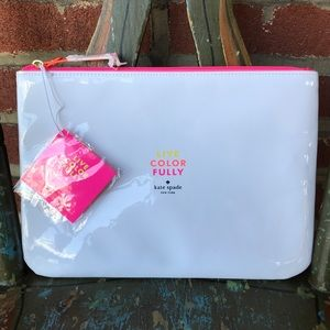 Kate Spade White and Pink Cosmetic/Travel Bag